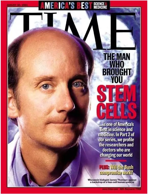 美国生物学家 James Thomson 因在干细胞研究领域的杰出贡献而登上了 2001 年 8 月的《时代周刊》封面