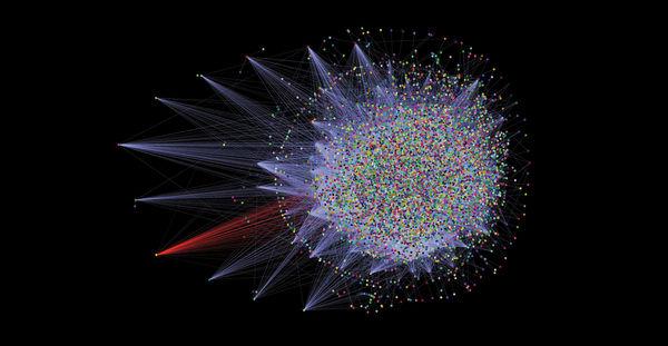 这团乱麻般的点线图包含着与疾病有关的根源线索;关键复合物和共用功能。