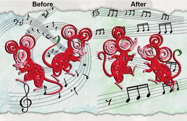 图片以中国剪纸的风格展示了自闭症模型小鼠光遗传治疗前后的两种状态。