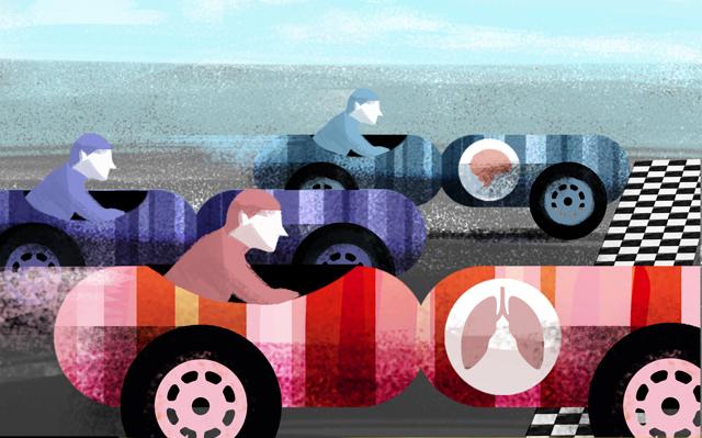 将复古的F1赛车想象成带状染色体,喻指癌症基因组图谱研究在识别癌症分子驱动因素方面的重要作用