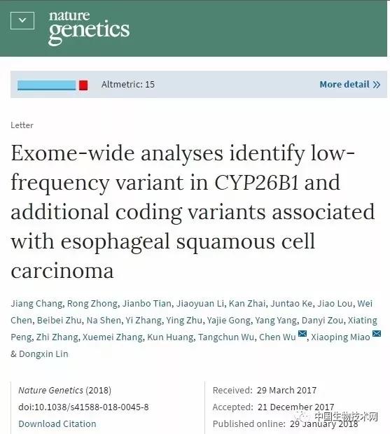 Nature Genetics:全反式视黄酸代谢和中国人群食管癌风险的关系研究