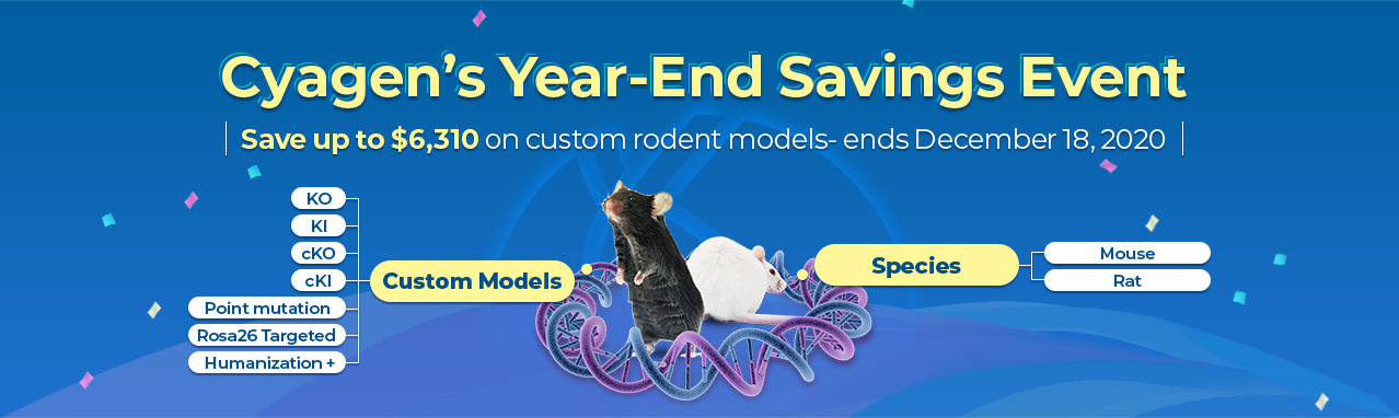 Save up to $6,310 on custom mouse and rat model | Cyagen